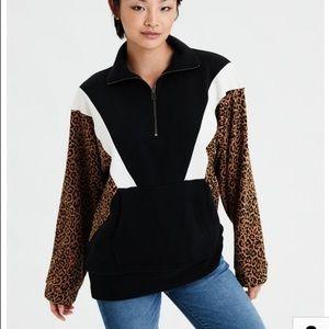 AE Colorblock Leopard Sweatshirt